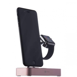 Док станция для Apple iPhone 5, 5C, 5S, SE, 6, 6 plus, 6S, 6S Plus, 7, 7 Plus, Apple Watch (COTEetCI Base Hub Dock) (розовый)